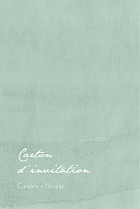 Carton d'invitation mariage classique eucalyptus blanc