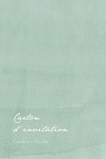 Carton d'invitation mariage Eucalyptus blanc