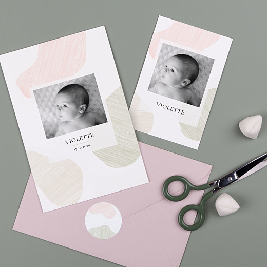 Stickers pour enveloppes naissance Galet rose - Gamme