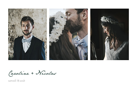 Carte de remerciement mariage Eucalyptus blanc
