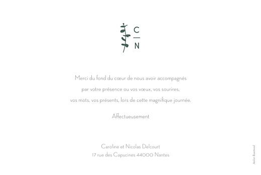 Carte de remerciement mariage Eucalyptus blanc - Page 2