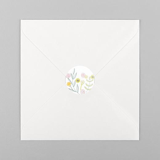 Stickers pour enveloppes baptême Douceur champêtre blanc - Vue 1