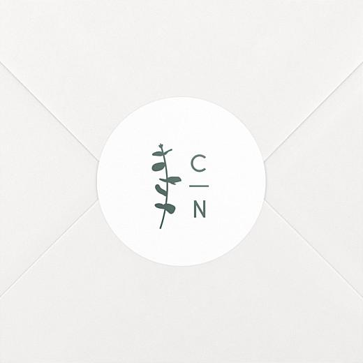 Stickers pour enveloppes mariage Eucalyptus blanc - Vue 2