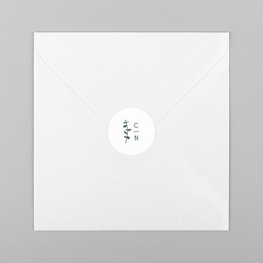 Stickers pour enveloppes mariage Eucalyptus blanc - Vue 1