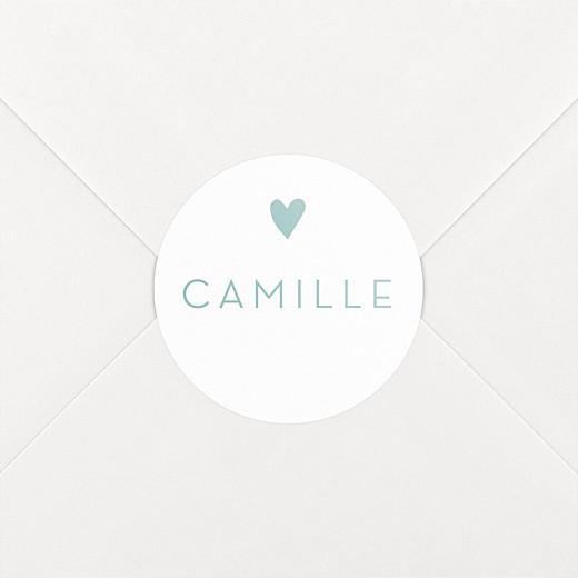 Stickers pour enveloppes baptême Élégant cœur vert - Vue 2