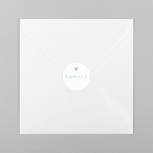 Stickers pour enveloppes baptême Élégant cœur vert - Vue 1