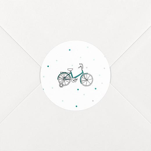 Stickers pour enveloppes baptême À bicyclette vert - Vue 2