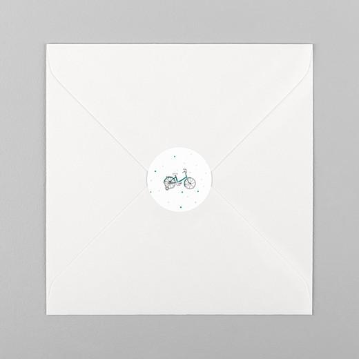 Stickers pour enveloppes baptême À bicyclette vert - Vue 1