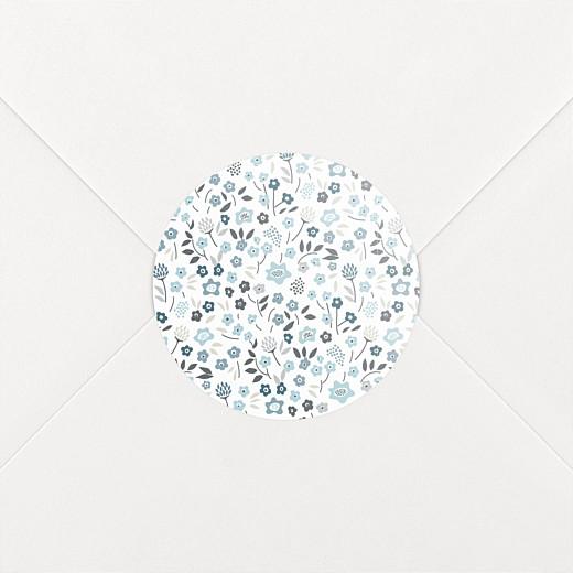 Stickers pour enveloppes baptême Liberty origami étoile bleu - Vue 2