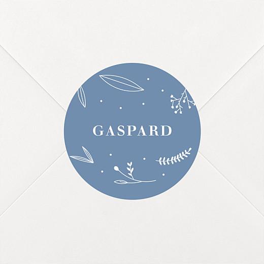 Stickers pour enveloppes baptême Élégant feuillage bleu - Vue 2