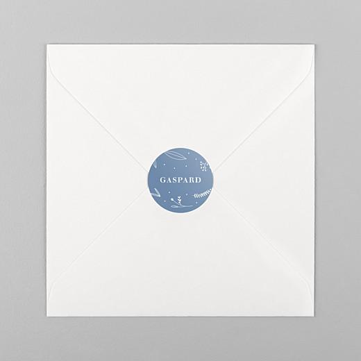 Stickers pour enveloppes baptême Élégant feuillage bleu - Vue 1