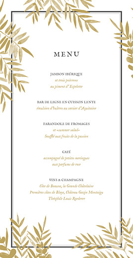 Menu de mariage Feuillage (4 pages) or - Page 3