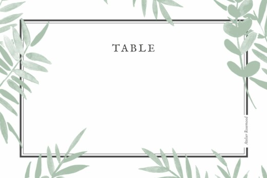 Marque-table mariage Feuillage vert