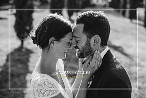 Carte de remerciement mariage jaune feuillage or