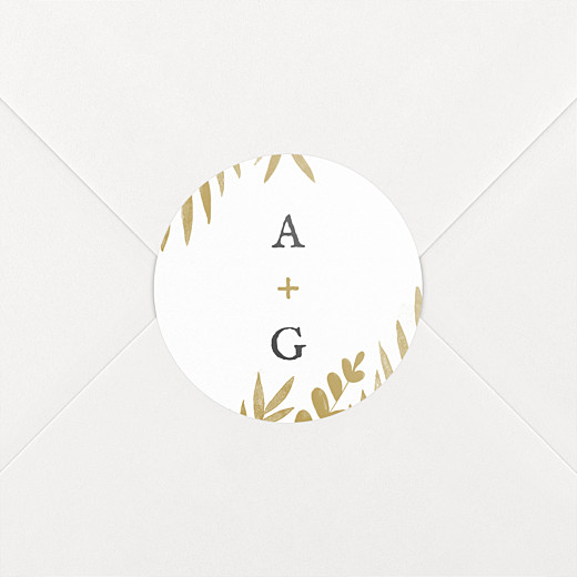 Stickers pour enveloppes mariage Feuillage or - Vue 2