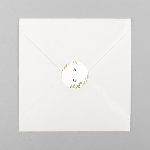 Stickers pour enveloppes mariage Feuillage or - Vue 1