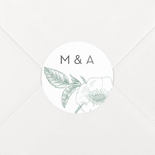 Stickers mariage Gravure chic vert - Vue 2