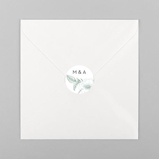 Stickers mariage Gravure chic vert - Vue 1