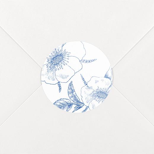Stickers pour enveloppes mariage Gravure chic bleu - Vue 2