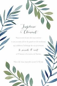 Faire-part de mariage classique belle saison bleu