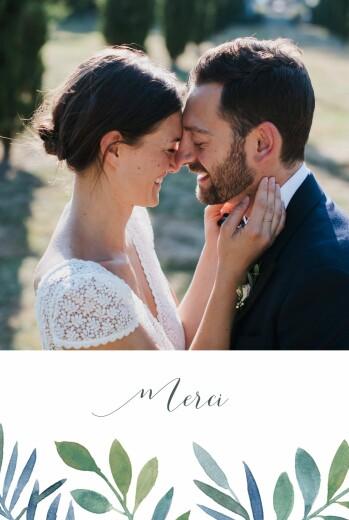 Carte de remerciement mariage Belle saison bleu