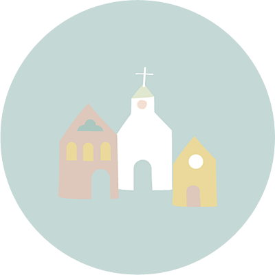 Stickers baptême Petit village vert finition