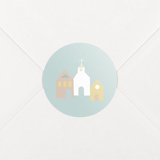 Stickers pour enveloppes baptême Petit village vert - Vue 2