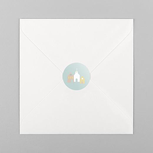 Stickers pour enveloppes baptême Petit village vert - Vue 1