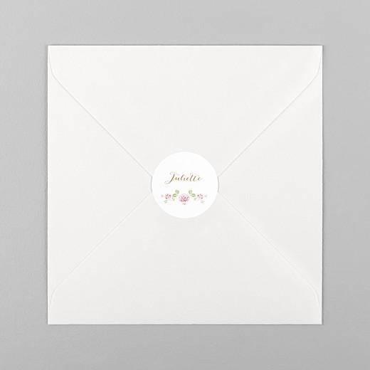 Stickers pour enveloppes baptême Couronne de roses blanc - Vue 1