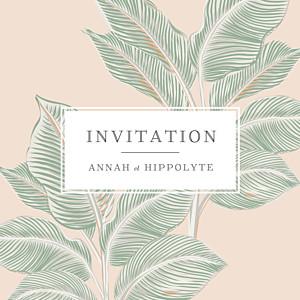 Carton d'invitation mariage beige equateur rose