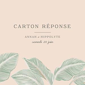 Carton réponse mariage rose equateur rose