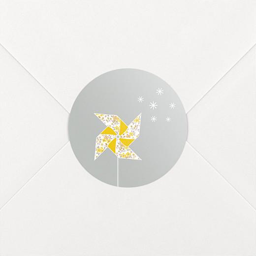 Stickers pour enveloppes baptême Moulin à vent gris jaune - Vue 2