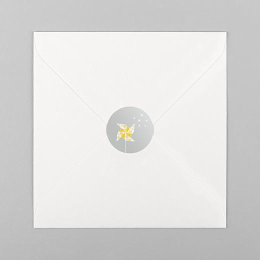 Stickers pour enveloppes baptême Moulin à vent gris jaune - Vue 1