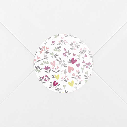 Stickers pour enveloppes baptême Liberty cœur prune - Vue 2