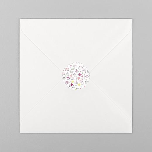 Stickers pour enveloppes baptême Liberty cœur prune - Vue 1