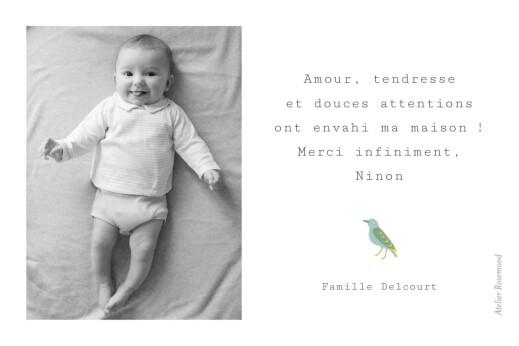 Carte de remerciement Oiseaux de paradis blanc - Page 2