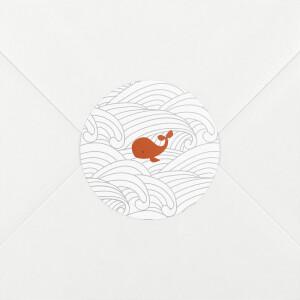 Stickers pour enveloppes naissance Baleines en voyage blanc