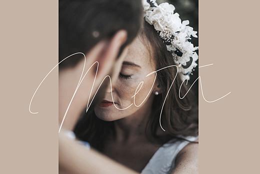 Carte de remerciement mariage Le fil beige
