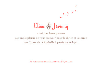 Carton d'invitation mariage Grand bouquet corail finition