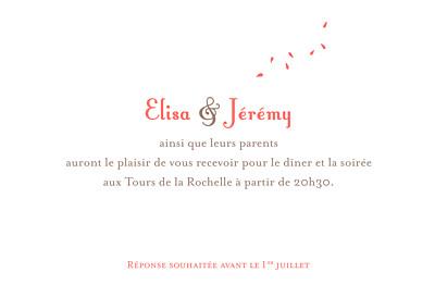 Carton d'invitation mariage Bouquet corail finition