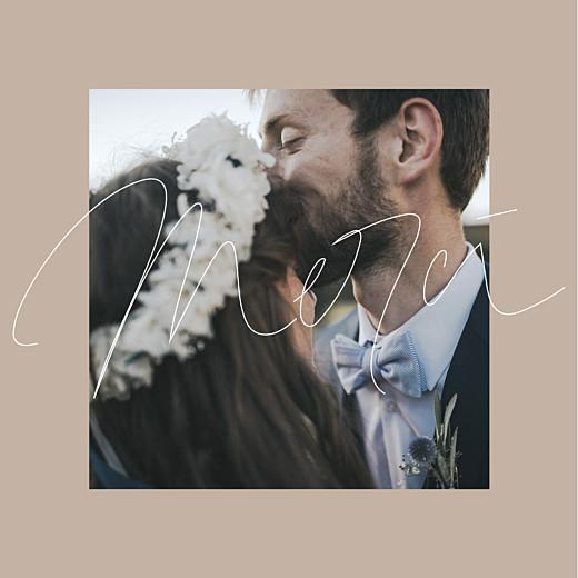 Carte de remerciement mariage Le fil 4 pages beige