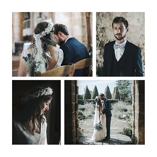 Carte de remerciement mariage Le fil 4 pages beige - Page 2