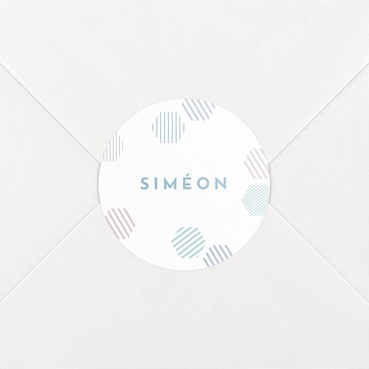 Stickers pour enveloppes naissance Hexagone bleu - Vue 2