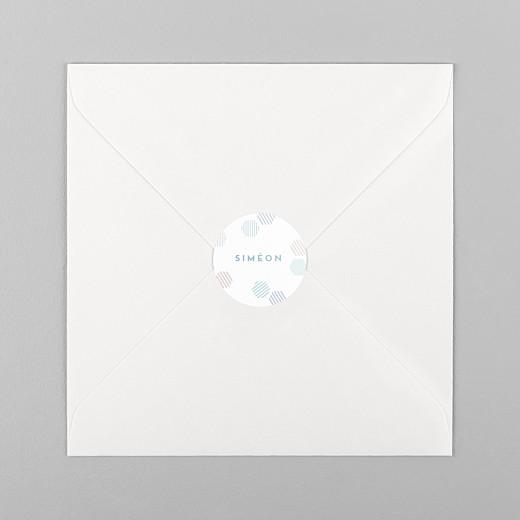Stickers pour enveloppes naissance Hexagone bleu - Vue 1