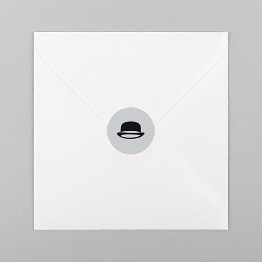 Stickers pour enveloppes baptême Dandy gris - Vue 1