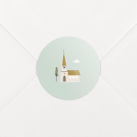 Stickers pour enveloppes baptême Jour de fête vert - Vue 2