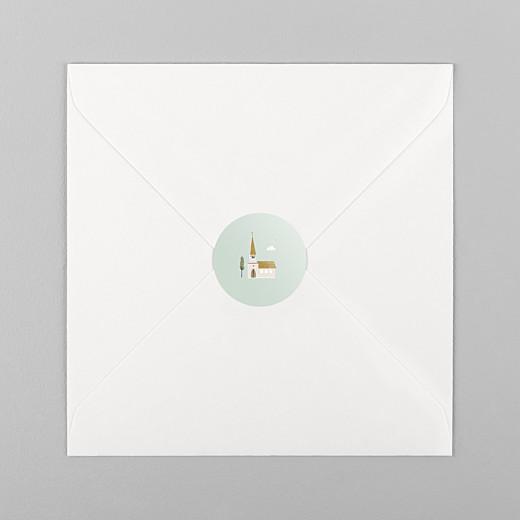 Stickers pour enveloppes baptême Jour de fête vert - Vue 1