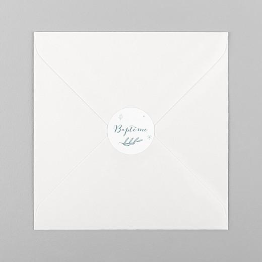 Stickers pour enveloppes baptême Douce colombe bleu - Vue 1