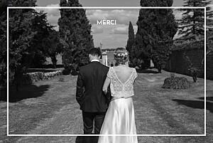 Carte de remerciement mariage champêtre bahia bleu