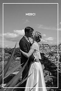 Carte de remerciement mariage tous genres bahia beige